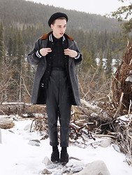 Paul Conrad Schneider - H&M Hat, American Apparel Petite Long Wool Coat, American Apparel Club Jacket, Zara Silk Button Up, American Apparel Vegan Leather Pants, Zara Pointed Ankle Boots - A Chance of Snow.