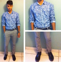 Gabriel Burgos - Matrix Welder Skinny Pants, Zara Paisley Print Shirt, Aldo Black Leather Anckle Boots - Baby Blue Boteh