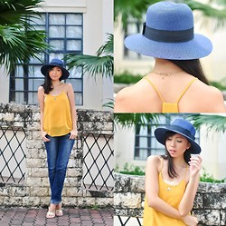 Gillian Uang - Ootd Ph Mustard Tank Top, Wagw Blue Fedora, Forever 21 Triangle Gold Necklaces, Old Denim Pants, Zalora Ph Gold Sandals - Mustard Seed