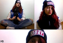 Maris D. - Obey Beanie, H&M Baseball Jacket, Redial Jeans Ripped, Converse White Allstars, Maybelline Cherry Candy Red Lipstick, Crosses Scarf - OBEY nobody