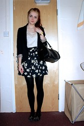 Laurel Elizabeth - Oasis Black Blazer, Charity Shop Nerd Bracelet, Lorus Watch, Claire's Chunky Gold Bracelet, New Look Bag, M&S Blouse, New Look Daisy Print Skirt, Black Tights, Tk Maxx T Bar Dolly Shoes - So We Put Our Hands Up
