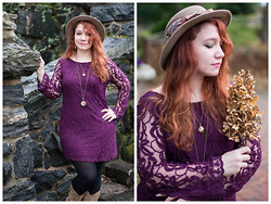 Gwen G. - Thrift Carpet Ribbon Hat, H&M Burgundy Lace Dress, Closet Cowboy Boots, Thrift Butterfly Necklace - The Funeral