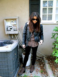 Allysa Stone - H&M Biker Jacket, American Apparel Leopard Shirt, Vagabond Boots - Forever