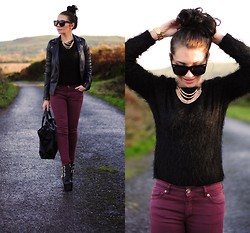 Klaudia Warasiecka - Zara Pants - Black jumper and burgundy