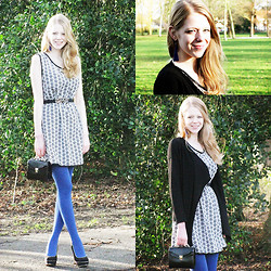 Simone Shares - Selfmade Dress, Primark Belt, New Look Tights, Van Haren Heels, Thrifted Purse, Hema Earrings, H&M Cardigan - Selfmade Dress