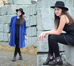 Tanja S. - Dress, Jeffrey Campbell Cutout Boots, Iphone Case, H&M Hat - Blue coat & a dress worn as top