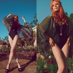 Candace Campbell - American Apparel Black Swimsuit, Indigo Moon Vintage Metallic Duster, Indigo Moon Vintage Quartz Point Necklace, Gypsy Den Quartz Point Ring, Gypsy Den Amethyst Point Headpiece, Jeffrey Campbell Perfect 2 Platforms - Balboa gypsy