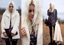 Hannah Riley - Topshop Coat, Think Closet Dress, Thrifted Vest, Lucky Brand Bag, Target Boots, Antique Necklace - White as Snow