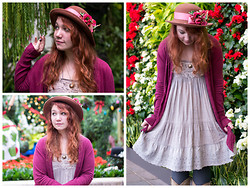 Gwen G. - Thrift Floral Hat, H&M Burgundy Cardigan, Thrift Gray Dress - Something Good Can Work