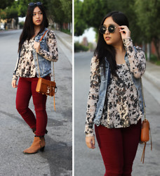 Kelsey Nguyen - Forever 21 Jeans, Rebecca Minkoff Mini Mac Bag, Urban Outfitters Lace Top, H&M Denim Vest - CRIMSON LACE