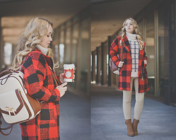 Olga Choi - Choies Sweater, Oasap Coat, Woakao Backpack, Charles & Keith Ankle Boots - Coffee time