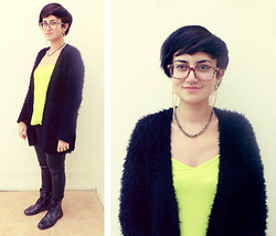 Chelsea Street - Ebay Earrings, New Look Fluffy Cardigan, Primark Leather Trousers - Neon