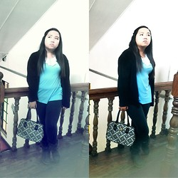 Joanna Mae Villareal - Bayo Sky Blue Collared Top, Secosana Geometric Printed Bag - Staircase Railing