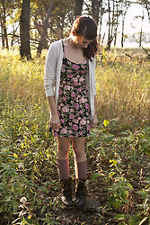 Emily Perkovich - Forever 21 Suede Elbow Patch Cardigan, Forever 21 Cabbage Rose Print Dress, Urban Outfitters Rose Button Top Knee Highs, Target Brown Buckle Combat Boots - 10112013