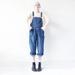 JENNY MUSTARD . - Mind The Mustard Denim Dungarees, Mind The Mustard Crop Top, Dr. Martens Vegan Docs - .do you want to stay in bed all day.
