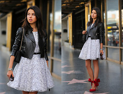Annabelle Fleur - Alice And Olivia Dress, Aminah Abdul Jillil Heels, Old Jacket - BLACK, WHITE & RED