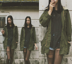 Brooke R. - Truly Madly Deeply Destroyed Tee, Army Surplus Jacket, Thrift Store Denim Shorts - After the storm