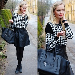 Madara L - Foymall Houndstooth Pattern Sweater, Persun Smile Tote Bag, H&M Faux Leather Skirt, H&M Ankle Boots - Houndstooth sweater