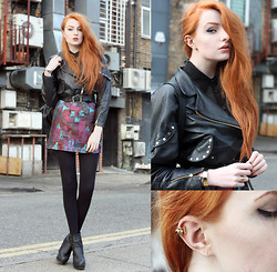 Olivia Emily - Maria Francesca Pepe Spike Ear Cuff, We Are Cow Vintage Bomber Jacket, Poppy Lux Skirt, River Island Boots - Lunch Break.