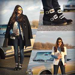 Fashionista Chloë Sterk - Carvela Kurt Geiger Boots: Boots By Luisaviaroma, Levi's® Jeans, Vintage Jacket, Fab Clutch - THE ROAD TRIP COLLECTION BY FAB.
