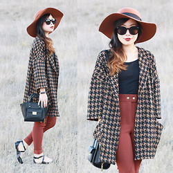 Toshiko S. - Rvca Wool Floppy Hat, Zerouv Sunglasses, Forever 21 Houndstooth Cocoon Coat, American Apparel High Waisted Riding Pants, 3.1 Phillip Lim Mini Satchel, Sole Society Crisscross Strapped Flats - Houndstooth Meets Cocoon