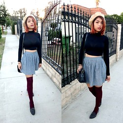 Yessenia L. - American Apparel Gray Skater Skirt, Black Mock Turtleneck Crop Top, Thrifted Beige Beret, Payless Maroon Thigh Highs, Ebay Spiked Loafers - Beret Beret