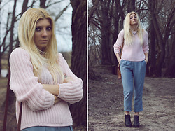 Vicky Kurkach - Asos Chelsea Boots, Asos Trousers With High Waist, Asos Punchout Satchel, New Look Textured Jumper, Designsix Necklace - Pink Fields