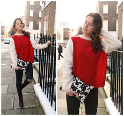 Cristina Cabada - Cos Bicolor Sweater, H&M Cow Print Clutch, Topshop Diy Ripped Jeans, Steve Madden Booties - Ripped