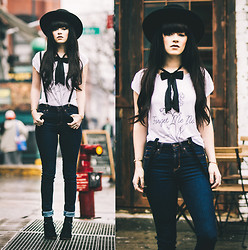 Rachel-Marie Iwanyszyn - The Orphans Arms Forget Me Not Tee, Abercrombie Jeans, Crossroads Shoes, Asos Bow, Vintage Suspenders - FORGET ME NOT.