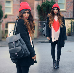 Kavita D - Ebay Red Beanie, Wildfox Couture Lennon Heart Sweater, Sheinside Black Chunky Cardigan, Grafea Black Rucksack, Missguided Ankle Lace Up Boots - My Wild Heart.