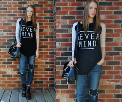 Quinn Bell - Minkpink Top, Milanoo Bag, Bdg Denim, Deena And Ozzy Studded Boots - | NEVER MIND |