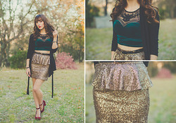 Michelle Elizabeth R - Urban Outfitters Velvet Crop Top, Nasty Gal Sequin Skirt, Sway Chic Velvet Heels - Velvet and sequins