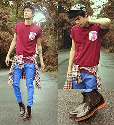 Vini Uehara - Dream But Do Not Sleep T Shirt, Dream But Do Not Sleep Cap, Guidomaggi Shoes London - Plaid & Floral