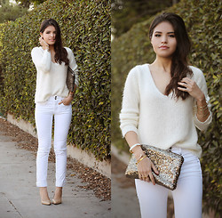 Adriana Gastélum - Lookbookstore Sweater, Salsa Jeans White, Storets Sequined Clutch, Steve Madden Nude Pumps, Baublebar, Lipstickrose, Aileen Gc, Windsor Jewelry - White on Tuesday