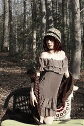 Jessie Duker - Charming Chariles Frilly Dress, Thrift Vintage Sweater, Cheetah Hat, Knee Highs - New Moon Rising