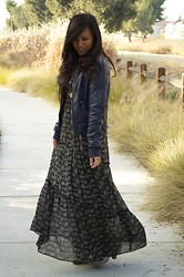 Alex Nguyen - Anthropologie Maxi, Thrifted Faux Leather Jacket, Anthropologie Emma Linen Booties - Sweet Leather