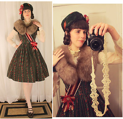 Tyler H - Laura Ashley (Altered) Christmas Dress, Lily Of The Valley Burgundy Sash, Ebay Cream Lace Stockings, Clarks Brown Heels, Lily Of The Valley Brown Shoe Clips, Outlet Mall Cream Gauze Blouse, Vintage Amber Fox Fur, Vintage Green And Red Feather Hat, Lily Of The Valley Tatted Camera Strap, Vintage Gold Crest Pin, Lily Of The Valley Red And Gold Roset - Dignity of the Duchess