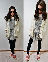Alice S - Vintage Cardigan, Vintage Dress, Converse Well Loved - Cozy~♪
