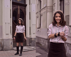 Sasha Kurilo - H&M Skirt, Second Hand Shirt, Accessorize Beret, Chester Boots - дом чая