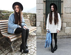 CLAUDIA Holynights - A Fabrica Dos Chapeus Hat, Levi's® Denim Jacket, Oversized Sweater, Zara Leather Look Leggings, Jeffrey Campbell Mulder - I can see all the weakness, i can pick all the faults