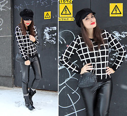 Lucine A - Rosegal Printed Sweater, Lindex Leather Skinnies, H&M Boots - Winter Graphics