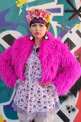 Zoe S. - Shopnastygal Pink Faux Fur Coat, Topshop Eyeball/Lips Dress, Marinafini Hand Cursor Earrings - Pink Faux Fur