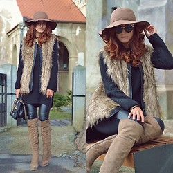 Grama Ioana - Stradivarius Faux Fur Vest, Zara Black Blouse, Random Over The Knee Boots, Sisley Hat, Dsquared2 Cat Eye Sunnies, Zara Leather Pants - Over the knee boots