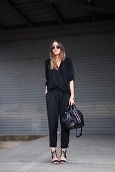 Kaitlyn Ham - Alexander Wang Chastity Chain Tote Bag, Ray Ban Original Unisex Aviator Sunglasses, Zimmermann Tailored Black Pants, Witchery Cross Front Drape Shirt, S E N O Riley Lace Up Block Heels - Down To Business.