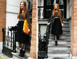 Sonja Vogel - Fringed.Nl Yellow Fringe Bag, Primark Pearl Collar Necklace, H&M Striped / Breton Top, H&M Tulle Midi Skirt, H&M White Lace Socks - Yellow Fringed Bag