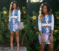 """Slim"" Shay D - Bebe Crop Top, Bebe High Waist Skirt, Nasty Gal Clutch, Jeffrey Campbell Not There - Oceans"
