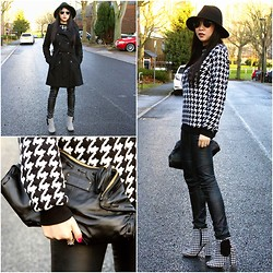 Eileen Qin - Asos Black Coat, Rocketdog Black/White Chequer Boots, H&M Leather Jeans, Fashion Qin Black Wool Hat, Alexander Mcqueen Black Clutch, Asos Chequer Sweats - CHEQUER