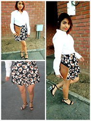Yessenia L. - Forever 21 White Button Up Shirt, Elephante Blanco Sunflower Skater Skirt, Deena & Ozzy Clear Heeled Strappy Sandal, Cotton On Two Toned Clutch - Sunflower of my life