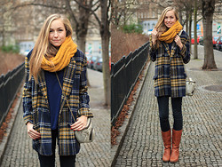Nicole E - Tartan Coat, Orsay Scarf, H&M Sweater, Crocs Boots, Stylescrapbook X Kipling Bag - Yellow and plaid coat
