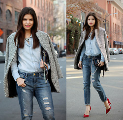 Adriana Gastélum - Sheinside Textured Coat, Sheinside Denim Shirt, Rebecca Minkoff Holographic Mini Mac, Forever 21 Boyfriend Jeans, Andrea Heels - Weekly denim